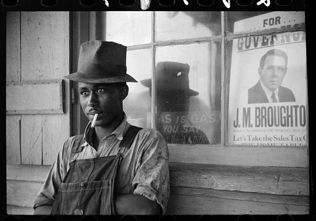 Young Negro farm laborer, Stem, North Carolina-Jack Delano 1940  [Library of Congress, Prints & Photographs Division, FSA-OWI Collection]