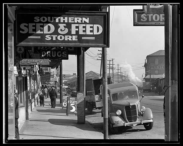 Waterfront in New Orleans. French market sidewalk scene. Louisiana-Walker Evans 1935  [Library of Congress, Prints & Photographs Division, FSA-OWI Collection]