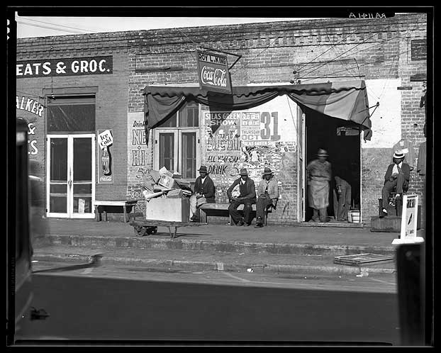 Sidewalk scene in Selma, Alabama-Walker Evans 1935 [Library of Congress, Prints & Photographs Division, FSA-OWI Collection]