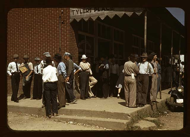 Farmers and townspeople in center of town on Court Day, Compton-M.P. Wolcott-1941 [Library of Congress, Prints & Photographs Division, FSA-OWI Collection]