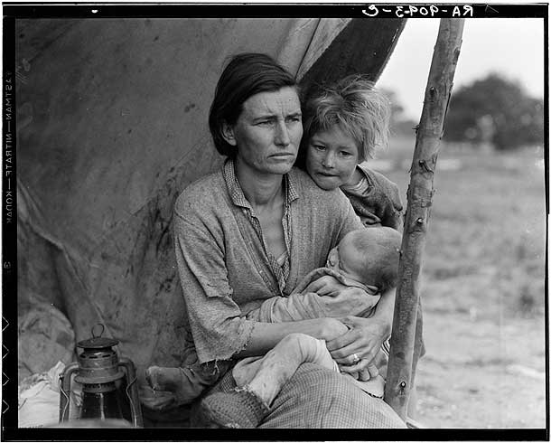 Migrant agricultural worker's family. Seven hungry children. Mother aged thirty-two-Dorothea Lange 1936 [Library of Congress, Prints & Photographs Division, FSA-OWI Collection]